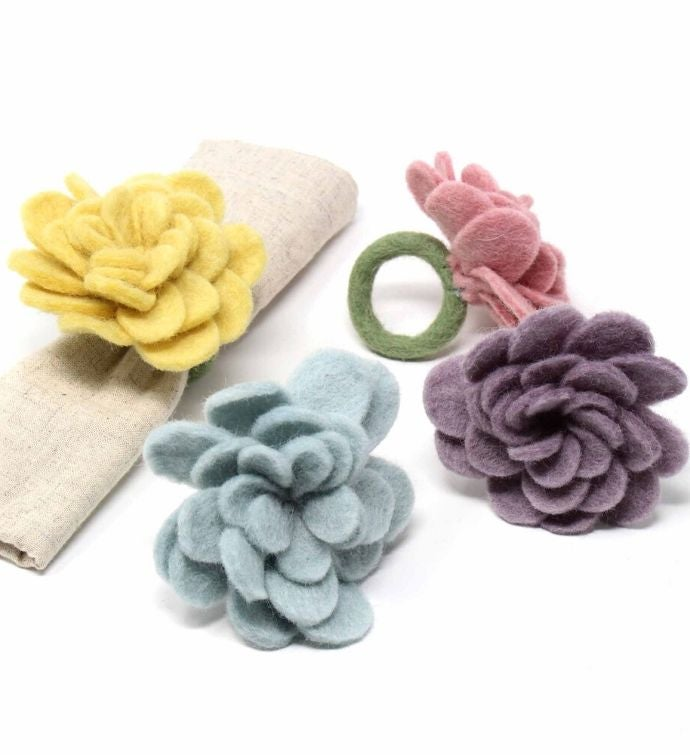 Hand-felted Pastel Zinnia Napkin Rings