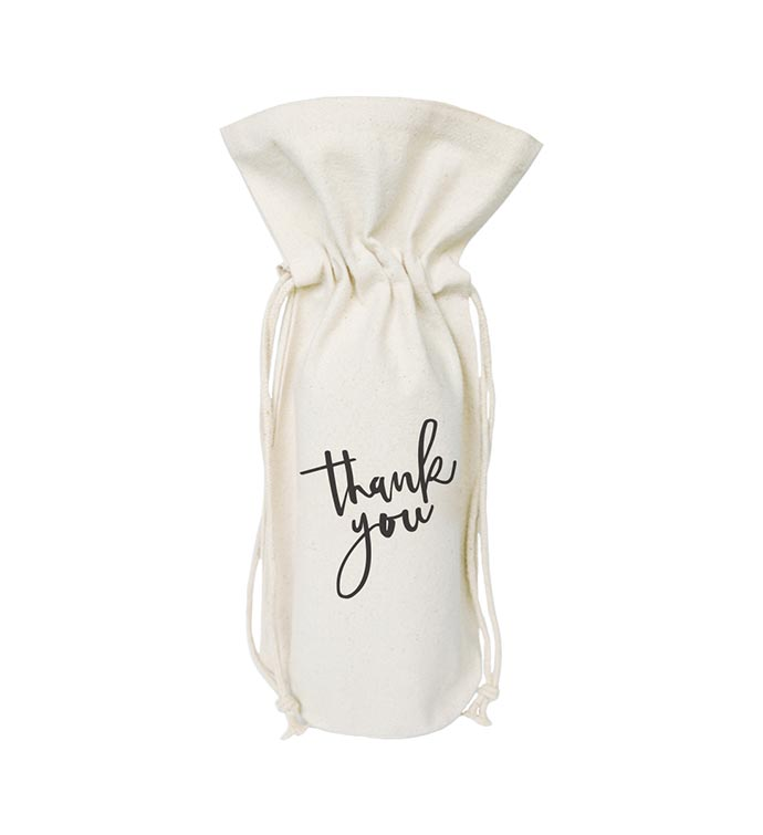 Thank You Wine Bag Bottle Cover and Gift Bag