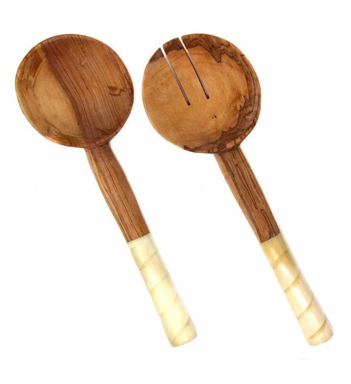 Hand-Carved Olive Wood Serving Set With Bone Handles