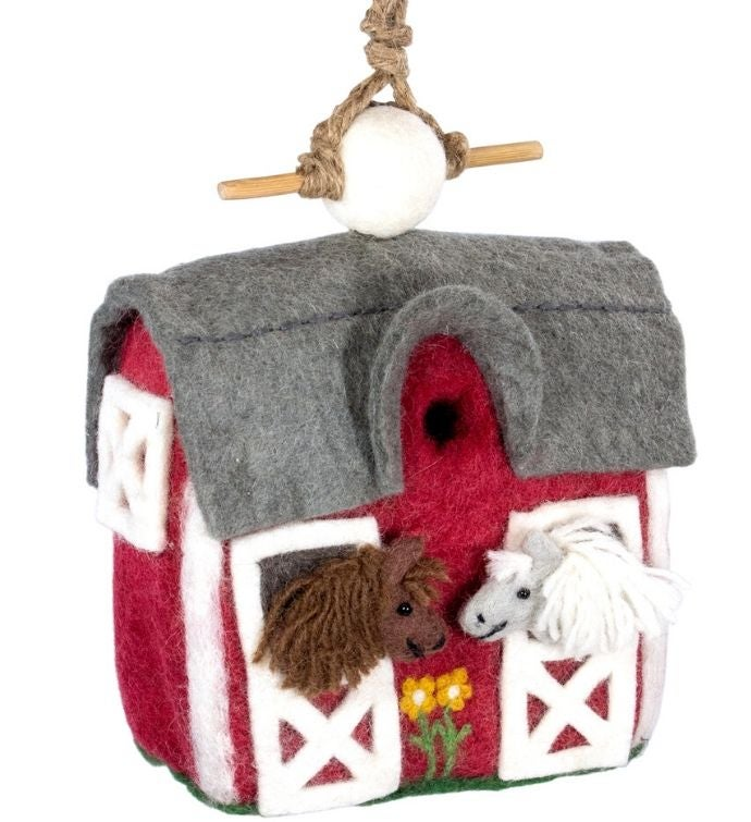 Handmade Wild Woolies Felt Birdhouse Country Stable