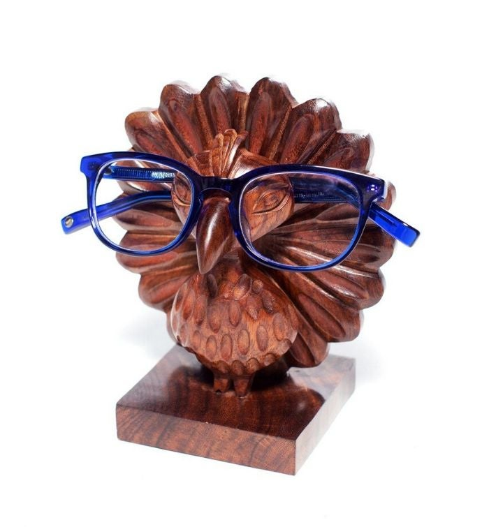 Handcarved Rosewood Peacock Eyeglass Holder