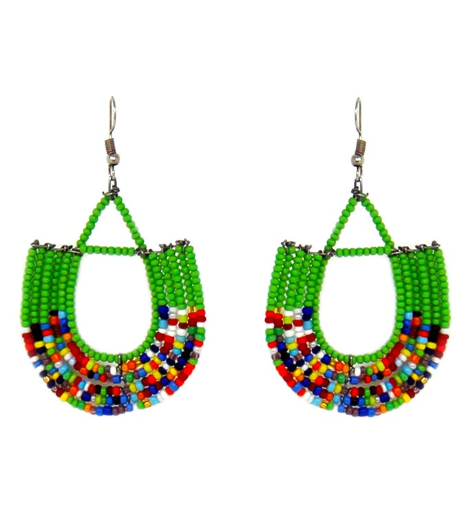 Handmade Maasai Bead Basket Dangle Earrings
