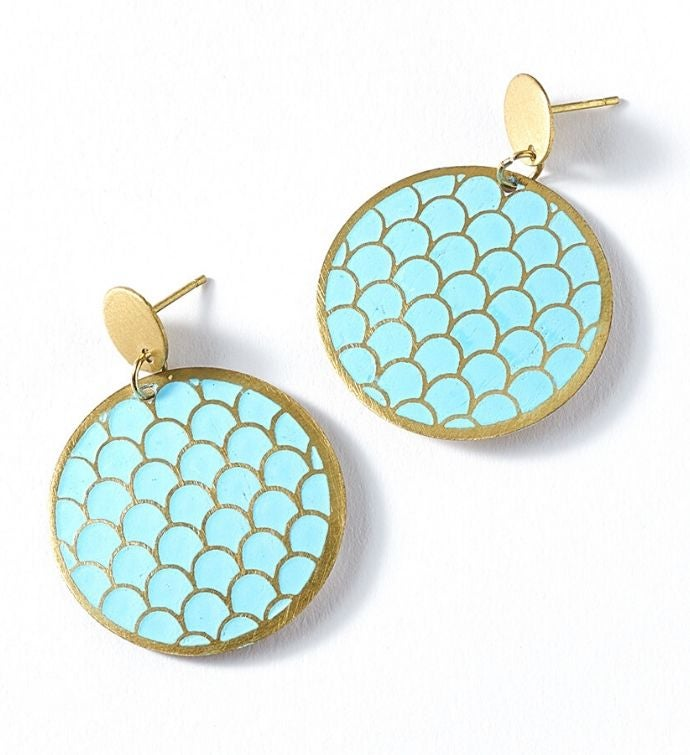 Scalloped Teal Coin Dhavala Earrings