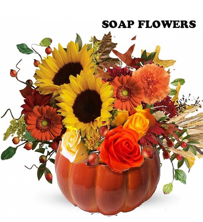 Country Pumpkin Soap Floral Gift