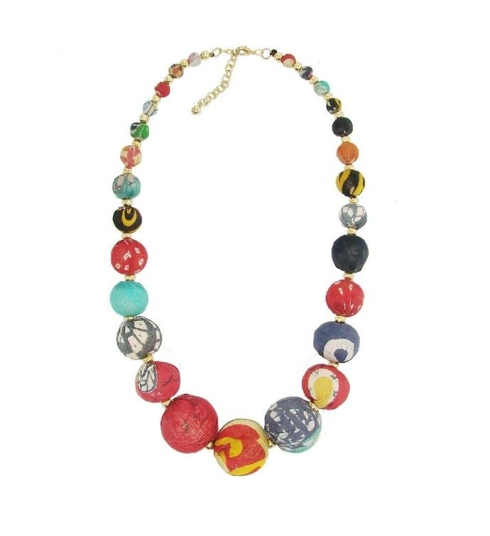 Handmade Kantha Graduated Bead Statement Necklace