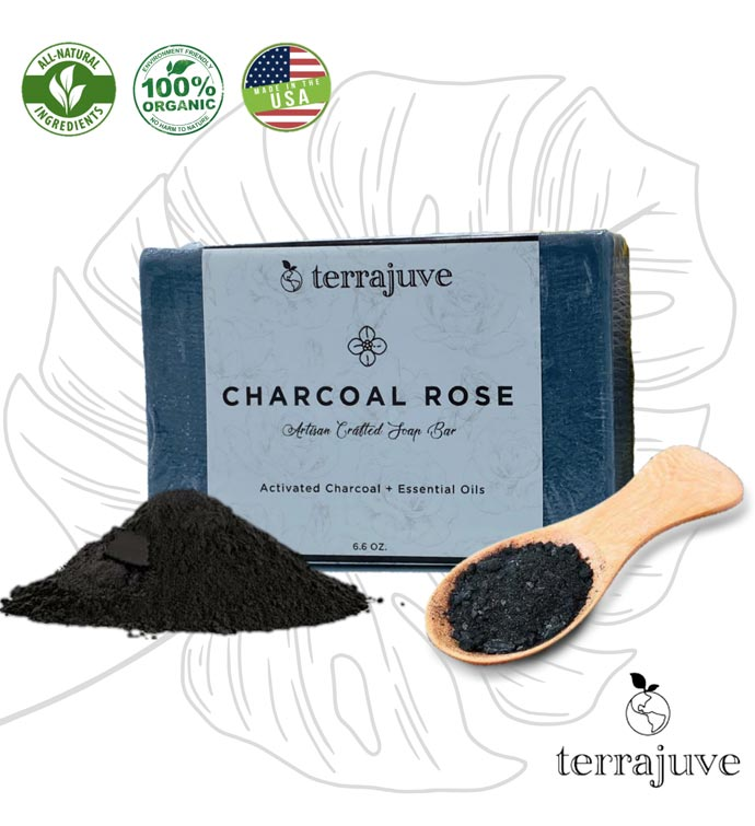 Activated Charcoal Rose Bar Soap With Essential Oils