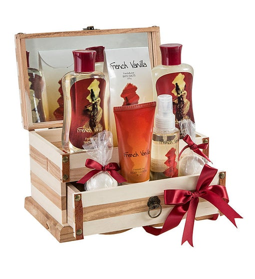 French Vanilla Spa Gift Set in Wood Jewelry Box