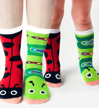 Ladybug & Caterpillar | Adult + Kid (4-8) Socks