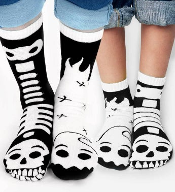 Ghost  Skeleton Pals  Adult  Kid 1-3 Socks