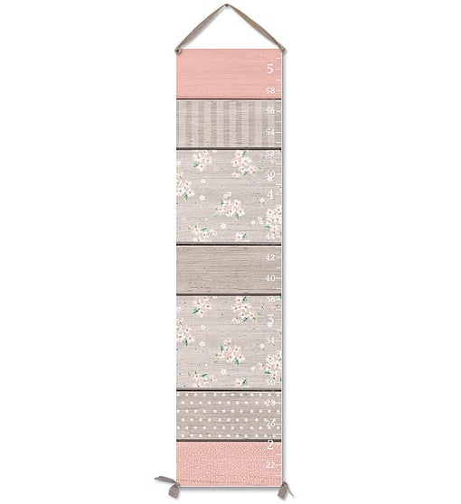 Sweet Canvas Growth Chart in Blush & Grey