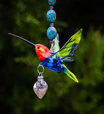 Red Headed Hummingbird with Silver  Keepsake Urn