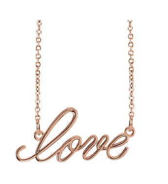 14k Gold Script Love Necklace